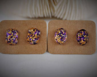 RESIN Gem Earring, RECTANGLE / OVAL Earring, Purple / Gold Mermaid Sequin Stainless Steel Stud Earring ~ 11 mm