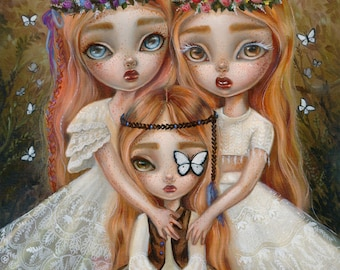 The Threee Sisters SIGNED print Simona Candini flower child children big eyes lowbrow pop surreal art oil painting