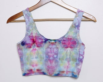 Psychedelic Ice-Dyed Sport Crop Top - Size Large - L - Floral Vibes