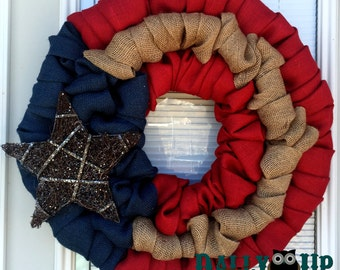 4th of July Burlap Wreath -  Natural, red,  and  Blue Burlap Wreath, Rustic Wreath, Patriotic,  Flag Wreath , Independence Day,  Door Wreath