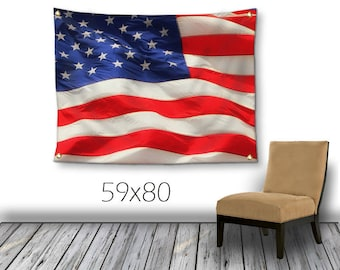 American Flag Tapestry-USA Wall Decor-Outdoor Wall Hanging-Red White & Blue Wall Decor-Patriotic Decor-Outdoor Tapestry-4th of July Decor