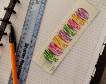 "Original Macaroon Watercolour Bookmark ""MACAROONS"" Approx 7"" x 2"" Laminated, Hand Painted By Lisa WU Art, Gift"
