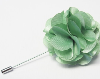 Boutonniere Dusty Green Silk Flower With 2 Inch Stick Lapel Pin