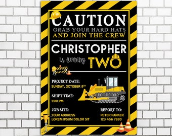 Construction Party Invitation, Construction Birthday Invitation, Construction Invitation, Under Construction Invitation, Caution Invitations