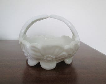 Westmoreland Dogwood Milk Glass Basket Candy Dish  #17208