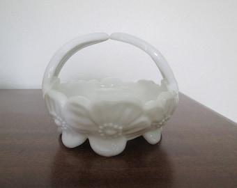 Westmoreland Dogwood Milk Glass Basket Candy Dish  #17208
