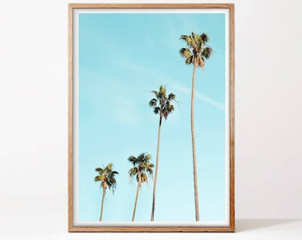 Palm Trees Print, Minimalist Palm Art, Tropical Decor, Digital Download, California Wall Art, Printable Poster, Tropical Leaves, Hawaii Art
