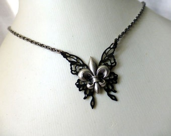 Fleur De Lis  Butterfly Charm Necklace - Steampunk Black Noir Jewelry