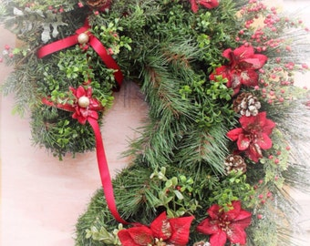 Extra large  SIZE horsehead wreath made to order. Size and season customizable. Approximately  3 feet tall tip to tip