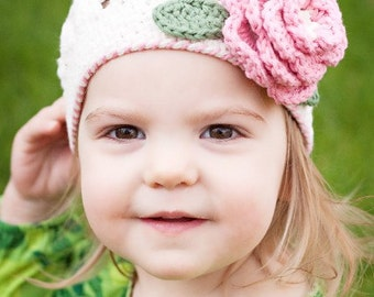 "Beanie Hat Crocheted ""The Cali"" Ivory Rose Pink Sage Open Weave Beanie Flower Accent Leaves"