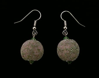 Pink and Green Marbled Effect Dangle Earrings