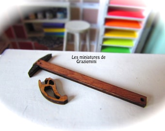Miniature T rule and Curved rule  -scale 1:12-Dollhouse miniatures