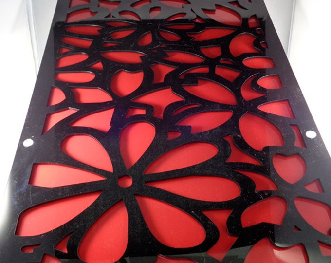Flowers Acrylic and Recycled Aluminum in Black and red