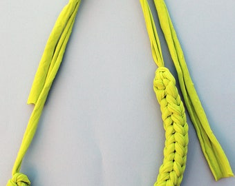 Lime Green Chunky T-shirt Yarn Necklace