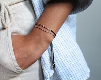 Rose gold beaded bracelet,  rose gold silk bracelet, rose gold hammered beaded bracelet, simple gold bracelet, black silk rose gold bracelet