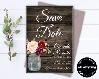 Rustic Save the Date Wedding Template - Country Save the Date Card - Southern Save the Date Invite - Printable Save Date - Save Our Date