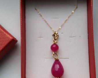 Pink Jade Tear Drop Pendant, Gold Filed Fine Chain, Easter Egg Pendants, Jade Firepolished Beaded Necklace - Pink Jade by enchantedbeads