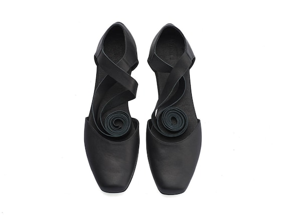 ballerina leather handmade flats shoes Ana Black 1Bq6xw5C