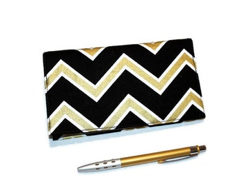 Chevron Checkbook Cover, Duplicate Checks, Pen Holder in Metallic Gold & Black Design, Elegant Art Deco Cotton Fabric
