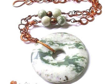Extra Large Pendant Necklace, Green and White Gemstone, Rustic Copper Chain, Peace Stone, Jasper, Unisex Necklace, Adjustable Chain  N252
