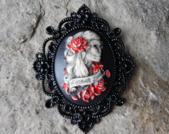 Forever Love Zombie, Skeleton Woman (Hand Painted) Cameo Pendant - Black Setting - Sugar Skull, Halloween, Unique, Goth, Gothic, Zombie