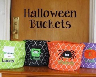 halloween buckets kids trick or treat bag monogrammed halloween bag