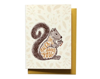 Funny Anniversary Card - I Love You Card - Nuts About You - LV4