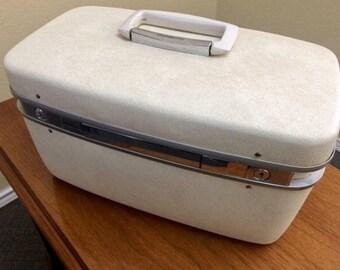 White Samsonite Train Case, Samsonite Horizon Train Case, Vintage Train Case, White Travel Vanity
