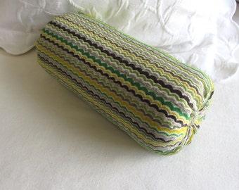CHENILLE Bolster pillow decorative throw 6x14 6x16 6x18 6x20 6x22 green yellow brown gray