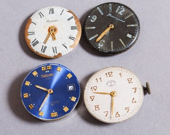Set of 4 Vintage watch movements, watch parts, watch faces, cases (01)