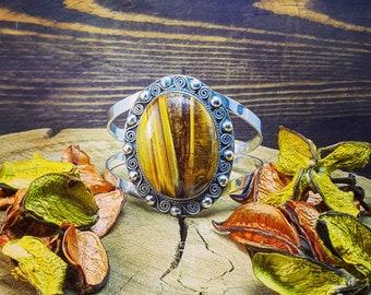 Antique Vintage Charm Style Bracelet Bangle Silver In Tiger's Eye Stone Handmade