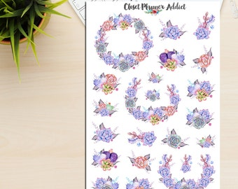 Purple Watercolour Succulents Planner Stickers | Succulents Stickers | Cactus Stickers | Plants Stickers (S-213)