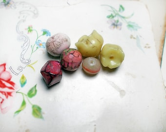 Polymer Clay Beads | 6 Rustic Beads | Rounds, Flower Pod, Nugget Tablet | Hazy Garden no. 2 | Pastel Yellow, Red | Faceted, Sculpted, Glazed