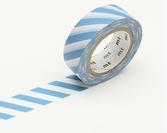 Greyish Sky Blue Stripe Washi Tape • MT Masking Tape Washi Tape • Washi Tape UK • Japanese stationery • Stripe Grayish Sky
