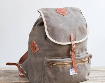 Rucksack in Field Tan Waxed Twill & Harness Leather