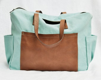 Mint Diaper Bag with Caramel Leather Front Pocket