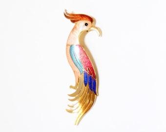 Bird of Paradise Brooch  Enamel Brooch  1980s Brooch  Bird Pin  Colorful Brooch Bird Jewelry 1980 Fashion  Enamel Bird Pin Tropical Bird Pin