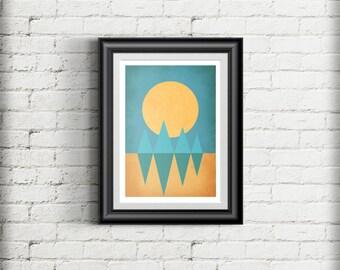 Geometric Minimal Mountain Sunset Scene Giclee Art Print Gift Poster, Scandinavian Style Illustration