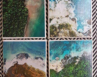 Ocean Drone Photography Ceramic Tile Coasters - set of 4