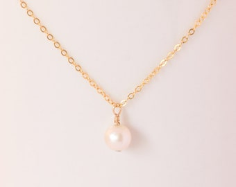 Freshwater pearl necklace - 14k gold - June birthstone - bridemaid gift