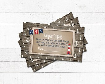 Boy Baby Shower Diaper Raffle Ticket Nautical Little Sailor Navy Red Anchor Bunting Banner Rustic Barn Wood Printable Instant Download