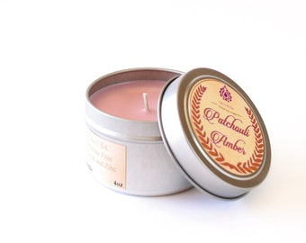 Patchouli Amber - Natural Soy Candle - 4 oz