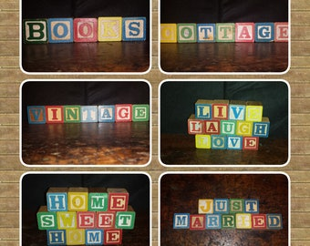 Vintage Wood Block Letters Pick Your Phrase Books, Vintage, Home Sweet Home, Cottage, Live Laugh Love, Just Married