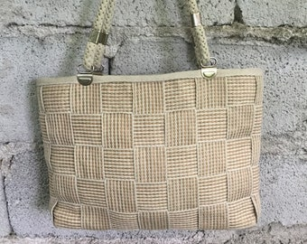 Vintage Bag/ 90s/ raffia/ double handles/ lined/ inside zip/ 27 cm x 39 cm/ Made in Italy