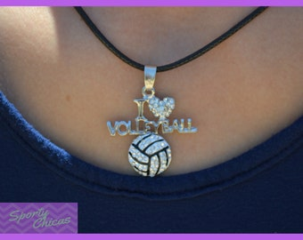 "Volleyball Gift Girls Volleyball Jewelry - Volleyball Team Gift - I ""Heart"" Volleyball Necklace - Volleyball Coach - Volleyball Mom"
