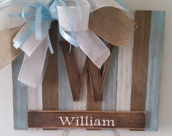 rustic baby boy hospital door hanger/baby boy birth announcement door hanger/baby boy wood door hanger/hospital dooe hanger/nursery decor/