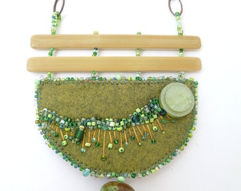 Bead embroidery green felt necklace, hand stitched bohemian style lariat, statement necklace, one of a kind, Fragments in green X
