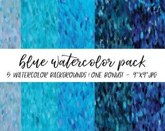 Watercolor Backgrounds Pack, Textures Bundle, Watercolor Digital Paper, Blue Watercolor Background, Watercolor Background
