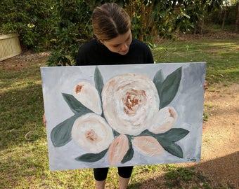 Sienne Roses peinture acrylique sur toile