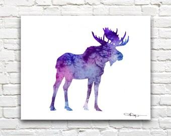 Purple Moose Art Print - Abstract Watercolor Painting - Wall Decor